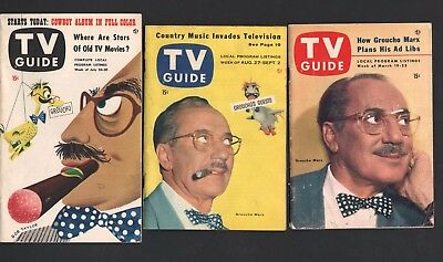 1953-1955 TV Guide Lot ALL Groucho Marx Covers (3) No Labels