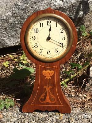 Swiss Made art nouveau wood mantle clock