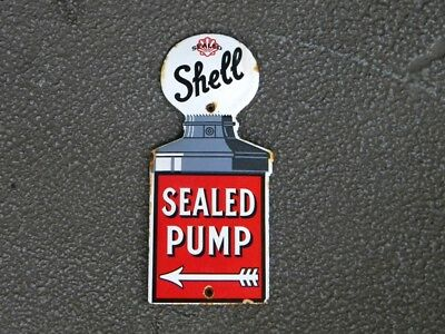 """SHELL SEALED PUMP OLD PORCELAIN SIGN ~5-3/4"""" x 2-5/8"""" GAS STATION OIL LUBESTER"""