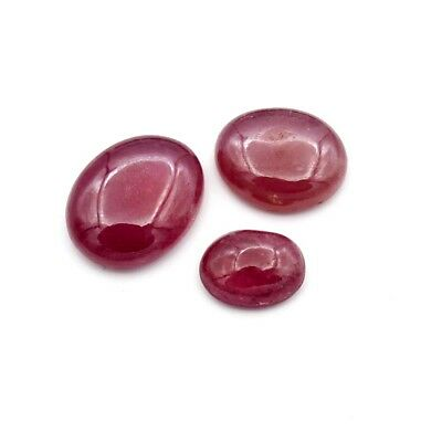 8.95ct Treated Glass Filled Ruby Gemstone Oval Loose Cabochon 3 Pc Wholesale Lot