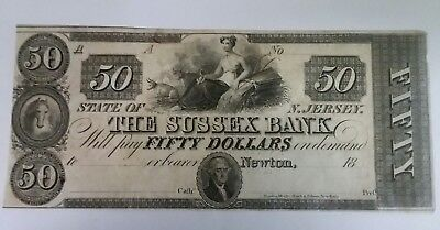 1850's obsolete US bank currency $50 sussex bank