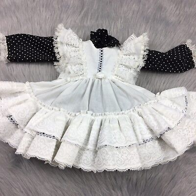 Vintage 2 Piece Baby Infant Newborn Black White Ruffle Lace Pinafore Dress