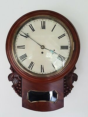 A beautiful Victorian mahogany wall clock - fully serviced - fusee movement