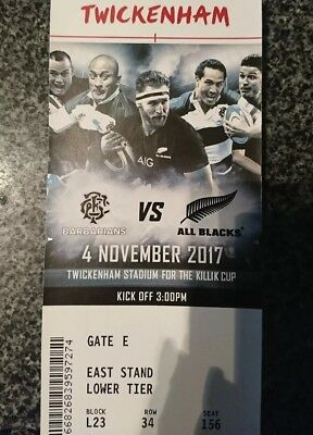 Barbarians vs All Blacks rugby tickets x 2
