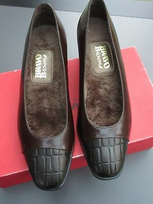 """Vtg : BRAVO by Brown's Waterproof  Pump Leather-Croco Shoes Fur Lined  6½B  1""""¾H"""