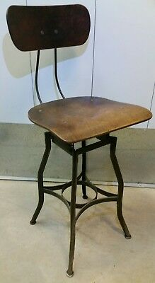 Vtg Toledo UHL Metal Industrial Adjustable Draftsman Work Stool Chair Bentwood