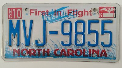 Genuine US License Plate North Carolina 'First in Flight' MVJ-9855