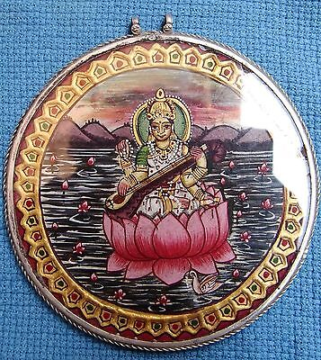 Vintage Silver Pendant Fine Colorful Hindu Goddess Saraswati Painting Necklace