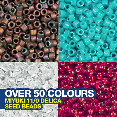 Miyuki Delica Seed Beads 11/0 Approx 1,440 beads. Choose from over 50 colours