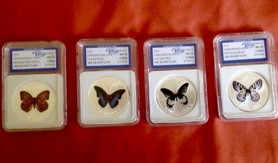 2014 Chen Baocai Series 3,4pcSilver Butterfly Coin Set 1st Day of Issue IGSMS70