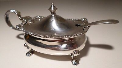 Mustard Pot - Vintage Walker & Hall Silver Plated with Cobalt Blue Liner & Spoon