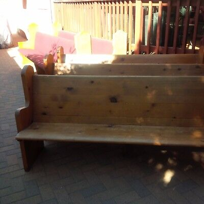 Five church pews: 2x8' (Red-padded); 3x6' Long Antique (natural unpadded)