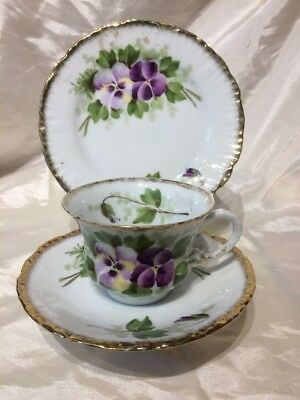 Vintage Victoria Austria bone china trio - side plate, teacup and saucer