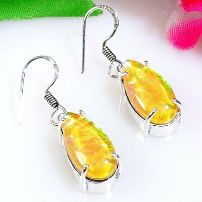 Yellow Australian Triplet Opal 925 Sterling Silver Earring 943 Length 1.6""