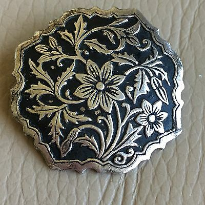 Antique Art Nouveau Black Enamel Niello White Metal Floral Brooch Pin ? Mourning