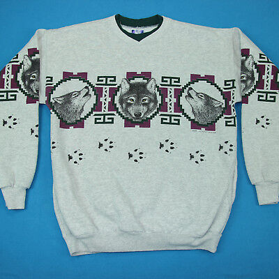 Vintage 90s HOWLING WOLF All Over Pattern Gray Pullover Southwest Sweatshirt M