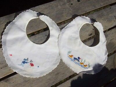 Vintage Hand Embroidered Baby Bibs Ducks & Mice Lot of 2