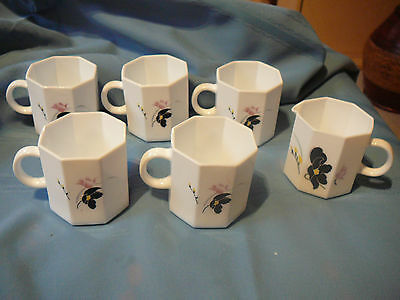 5 ARCOPAL ARCOROC OCTIME WHITE GLASS COFFEE CUPS with 1 CREAMER ANAIS FLORAL