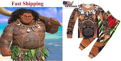 Boys Moana Maui Pajamas Costume 2 Pieces Sets Halloween Cosplay T-shirt O46