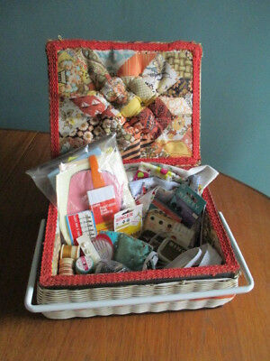 Vintage retro sewing box basket with vintage contents