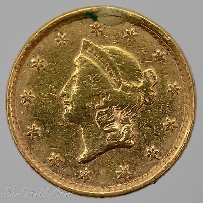 1852 Ty-1 $1 Liberty Head Gold Dollar (Looop Removed) VF /Q-960
