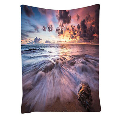 Sea Waves Rocks Dramatic Colorful Clouds on the Beach at Sunset Seascapei Z5W7