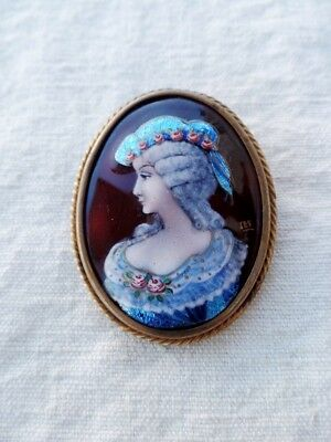 Ancienne Broche En Email Limoges? Signee Signed  French Brooch