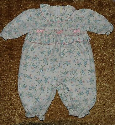 Sweet Vintage Baby Togs Smocked Floral One-Piece Longall Coverall Romper 3-6 M