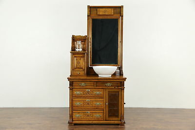 Victorian Eastlake Antique 1870 Maple Ship Commode Chest & Mirror