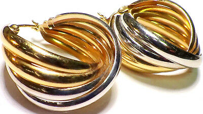 Solid 14K White And Yellow Gold Four Row  Hoop Earring  4.60 Grams No Reserve
