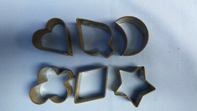 Vintage Primitive Cookie Cutters Playing Cards Star & Moon Sandwich Tin Early