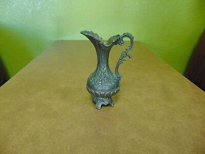 "Vintage Ornate Metal Ewer Pitcher Italy 7"" Hidden Compartment"