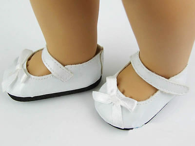 "White Color Doll Shoeswith Bow Fits 18"" American Girl Doll Supplies Accessories"