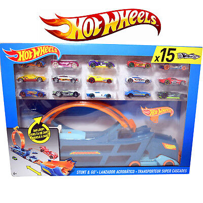 Hot Wheels Stunt Transporter Wagon + 15 HotWheels Cars Brand New Toy