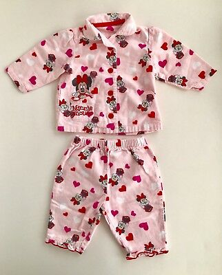 Disney Minnie Mouse Baby Girls 0-3M Long Sleeved Pyjamas Winceyette 2 Pcs Set