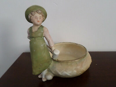 Royal Dux figurine, girl figure playing croquet with planter, A/F