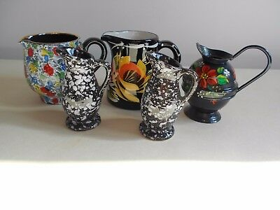 Six Black Decorated Jugs Including 2 Bargeware?