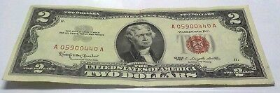 1963 Two Dollar United States Note Us Currency $2.00 Bill