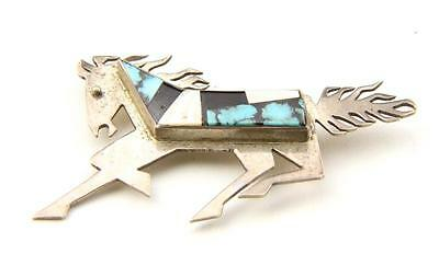 Vintage Zuni Sterling Silver & Multi Stone Inlay Horse Brooch Pin Artisan Signed