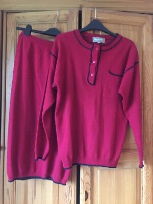 Rare Vintage Red Co-ord Two Piece Skirt Set Size 8