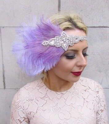 Lilac Lavender Light Purple Silver Feather Headpiece 1920s Headband Vintage 4268