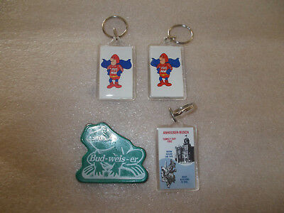 4 Asstorted Anheuser Busch Key Chains Magnet Frog Bud Man Fathers Day 1992