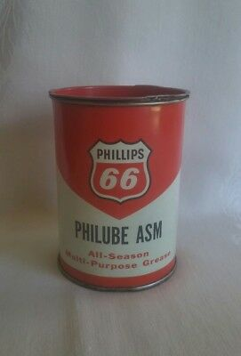 Vintage 1950's PHILLIPS 66 Philube ASM GREASE CAN Tin Litho Oil GAS STATION 1 lb