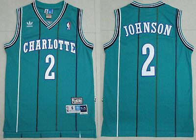New Men's Charlotte Hornets #2 Larry Johnson Basketball Jersey Retro Green S-XXL