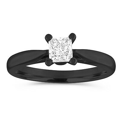 Solitaire Engagement Ring GIA Princess Diamond Bridal Ring 0.50ct 14k Black Gold