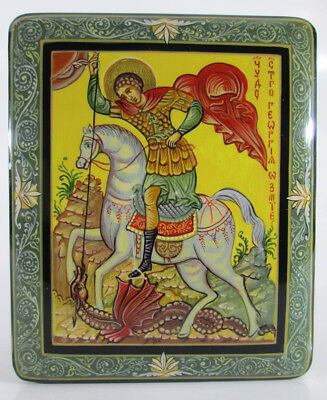 """Christian Lacquer box """"Georgy Pobedonosets"""" Hand Painted Orthodox icon #275-1"""
