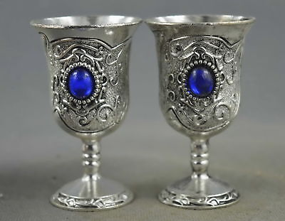 Collectable Handmade Miao Silver Carve Flower Rattan Inlay Agate Lucky Wine Cup