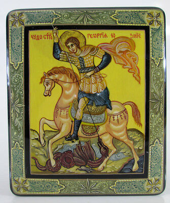 """Russian Orthodox icon Lacquer box """"Georgy Pobedonosets"""" Hand Painted  #275-2"""