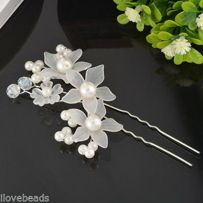 1PC Bride Flower Hair Pin Wedding Party Jewelry Accessory Lovely Pearl