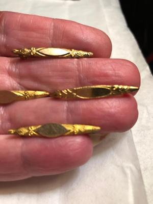 Victorian LOT of 4 tiny Engraved Rolled Gold Antique BAR PINS 1870's Revival